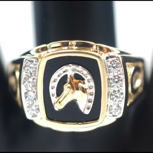 Other - Solid 14k Men's Ring With Horse and Horse Shoe